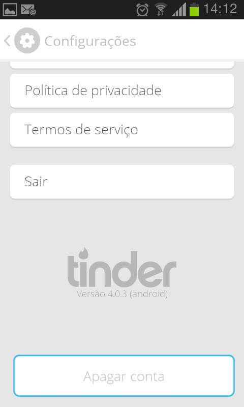 Menu de configurações do aplicativo Tinder para Android