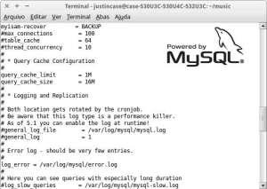 Captura de tela do arquivo de configuração do MySQL