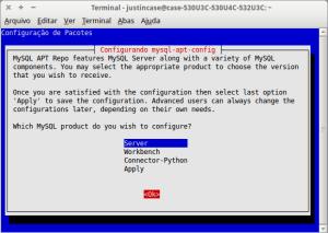 mysql-apt-config opções de instalação
