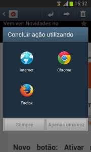 Concluir ação utilizando ... painel de opções do Android