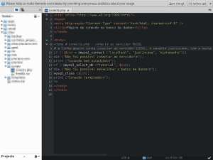 Captura de tela do komodo editor - código PHP para conectar ao banco de dados MySQL