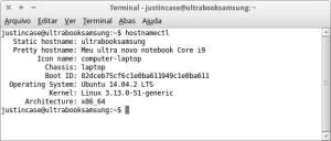 Captura de tela do comando hostnamectl