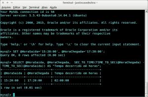 Captura de tela: MySQL calculos envolvendo horas no banco de dados.