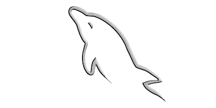 MySQL Dolphin gray carved out on white