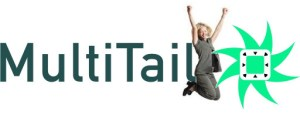 Multitail logo and woman