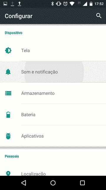 Painel de configuração do Android Lollipop 5.1: Som e notificação