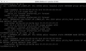 exemplo de execução do comando ip no Linux