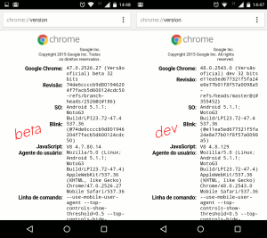Chrome-version-beta-dev