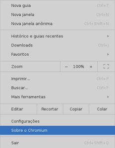 Menu de confuguração do Google Chrome - by Elias Praciano