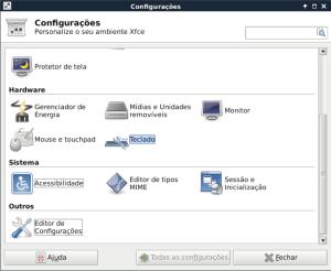 Painel de configurações do XFCE Debian e Ubuntu.