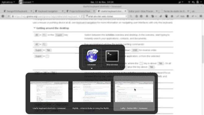 Alternância entre aplicativos no Gnome 3.