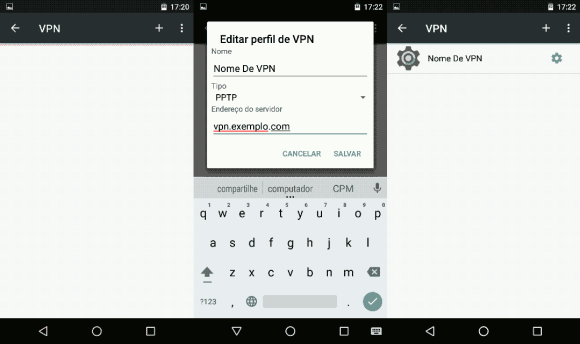 Opções de rede VPN no Android