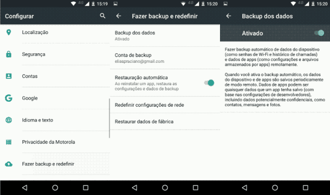 Como ativar o backup nativo do Android
