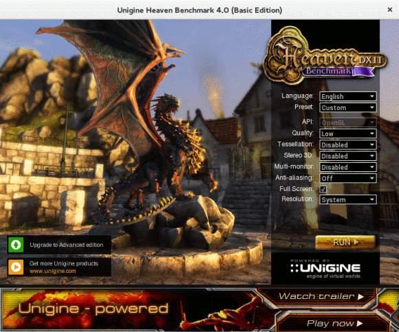 unigine Heaven main screen