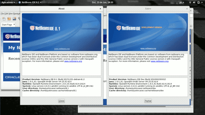 captura de tela netbeans 8 and nightly
