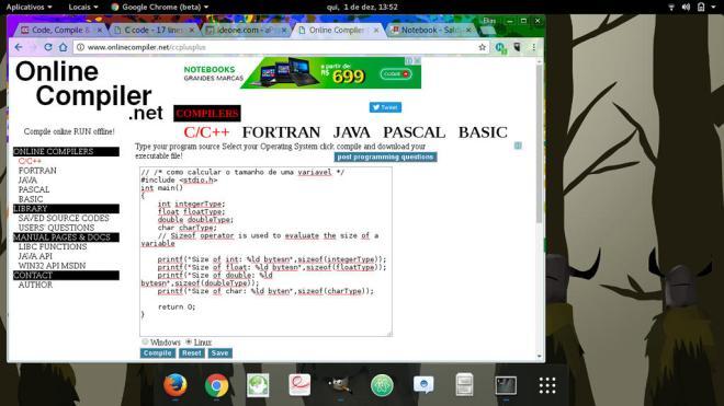 onlinecompiler web online compiler