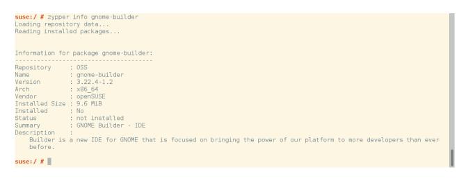 opensuse cli zypper info gnome-builder