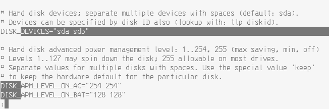tlp disk settings