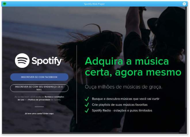 spotify welcome screen