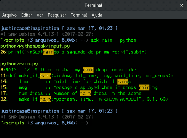 linux terminal ack command