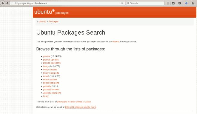 site com lista de versões do Ubuntu
