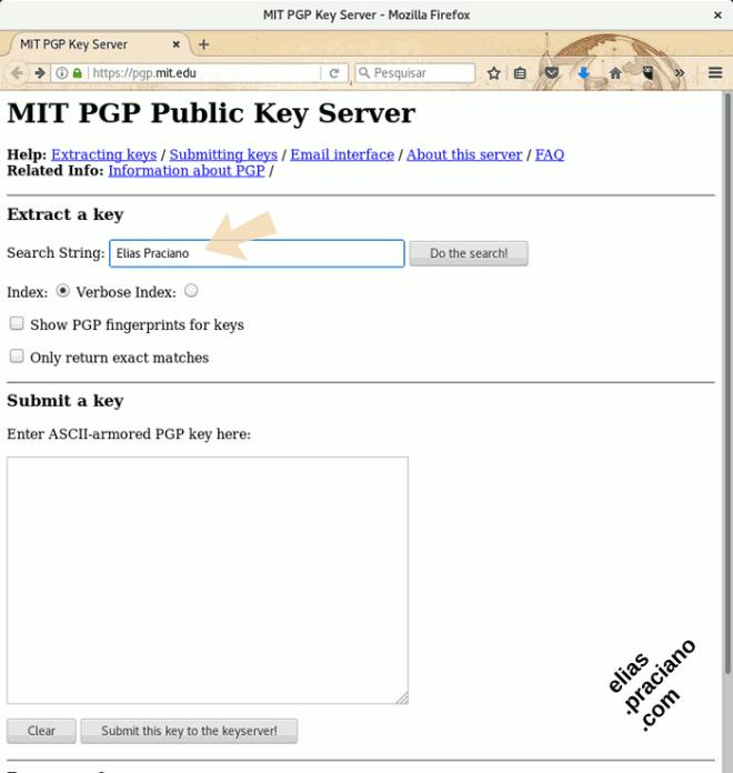 elias praciano chave publica no servidor do MIT