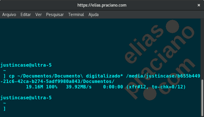 rsync - exemplo de uso - captura de tela