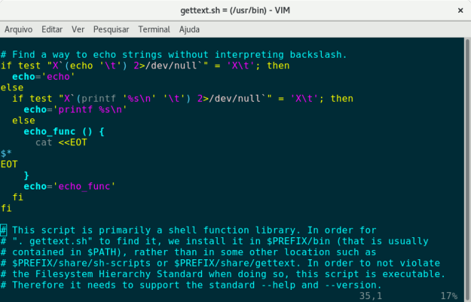 gvim text editor screen capture