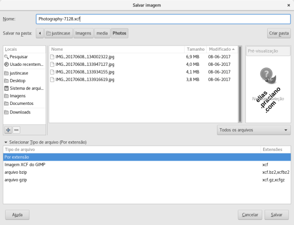 Painel de exportação de arquivos do GIMP
