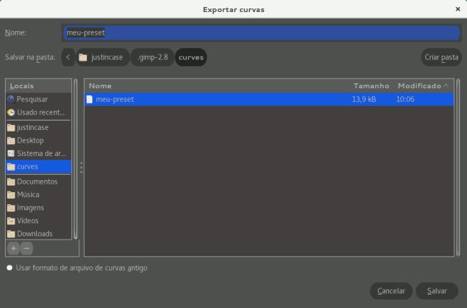 gravar presets no GIMP