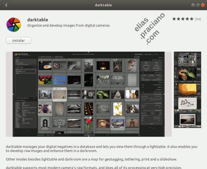 tela de instalação do Darktable para Ubuntu