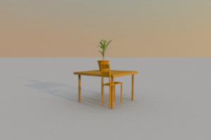 Imagem de mesa, cadeira, jarro de flores e janela, criada com o Sweet Home 3D