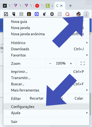 google chrome confiigurações