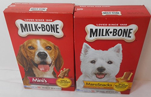 Milk Bone 15 oz Pkg Maro Snacks & Milk Bone 15 oz Mini's Original - Both are for dogs of all sizes - Bundle