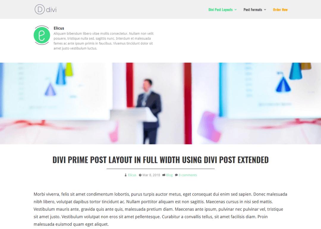 Divi Prime Post Layout