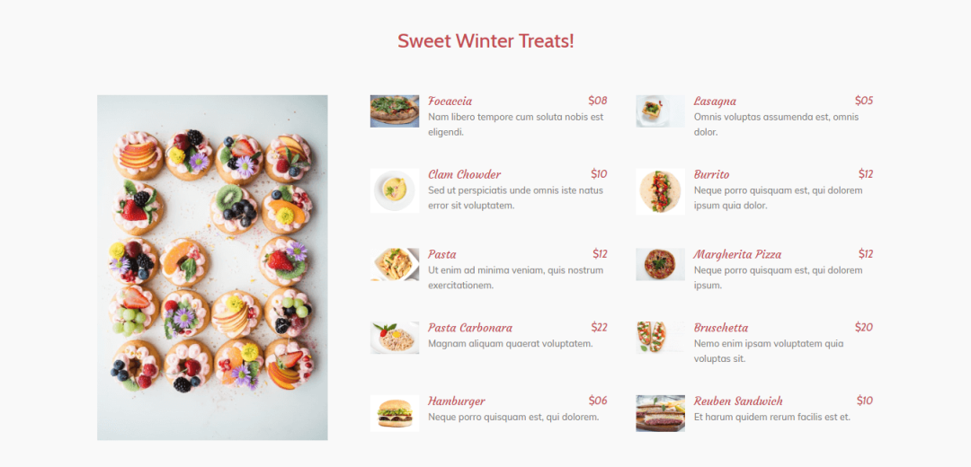Divi Restro Menu Layout 1