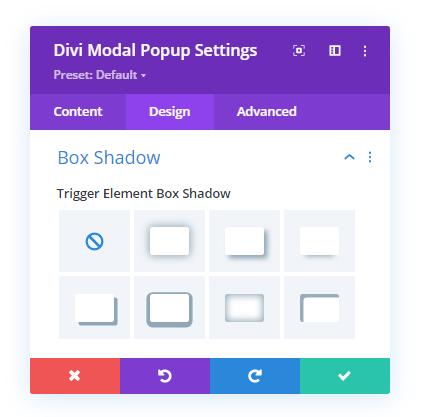 Box Shadow option in the design tab