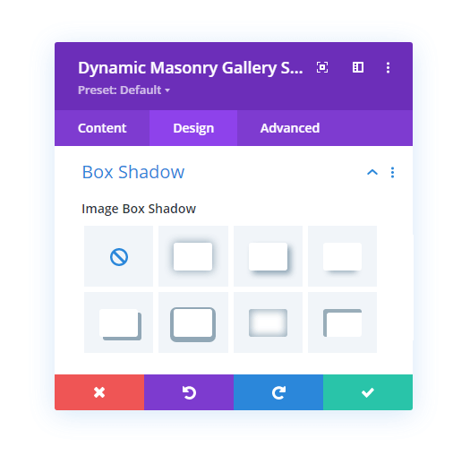 Box Shadow settings in the design tab of Divi Gallery Extended plugin