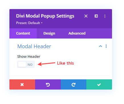 Disabling Divi Modal Popup header