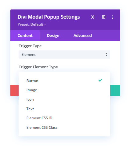Elements Trigger Types in the Configuration settings