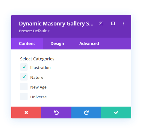 Image category selection in Divi builder using Divi gallery extended plugin