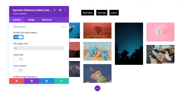 Image gallery in Divi with category filter