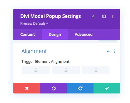 Modal Popup Alignment settings