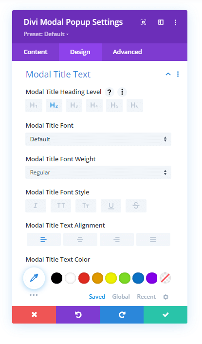 Modal Title Text settings in the Design tab