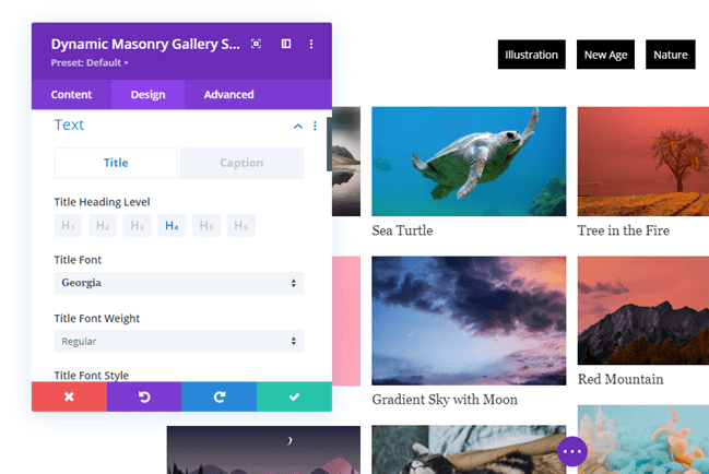 Text styling option in Divi Gallery Extended plugin