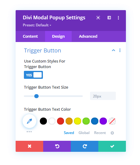 Trigger Button settings for Divi Popup