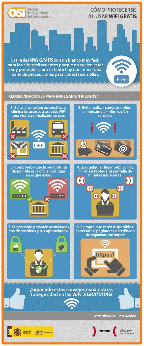 ¿Cómo protegerse al utilizar WiFi gratis? #infografía