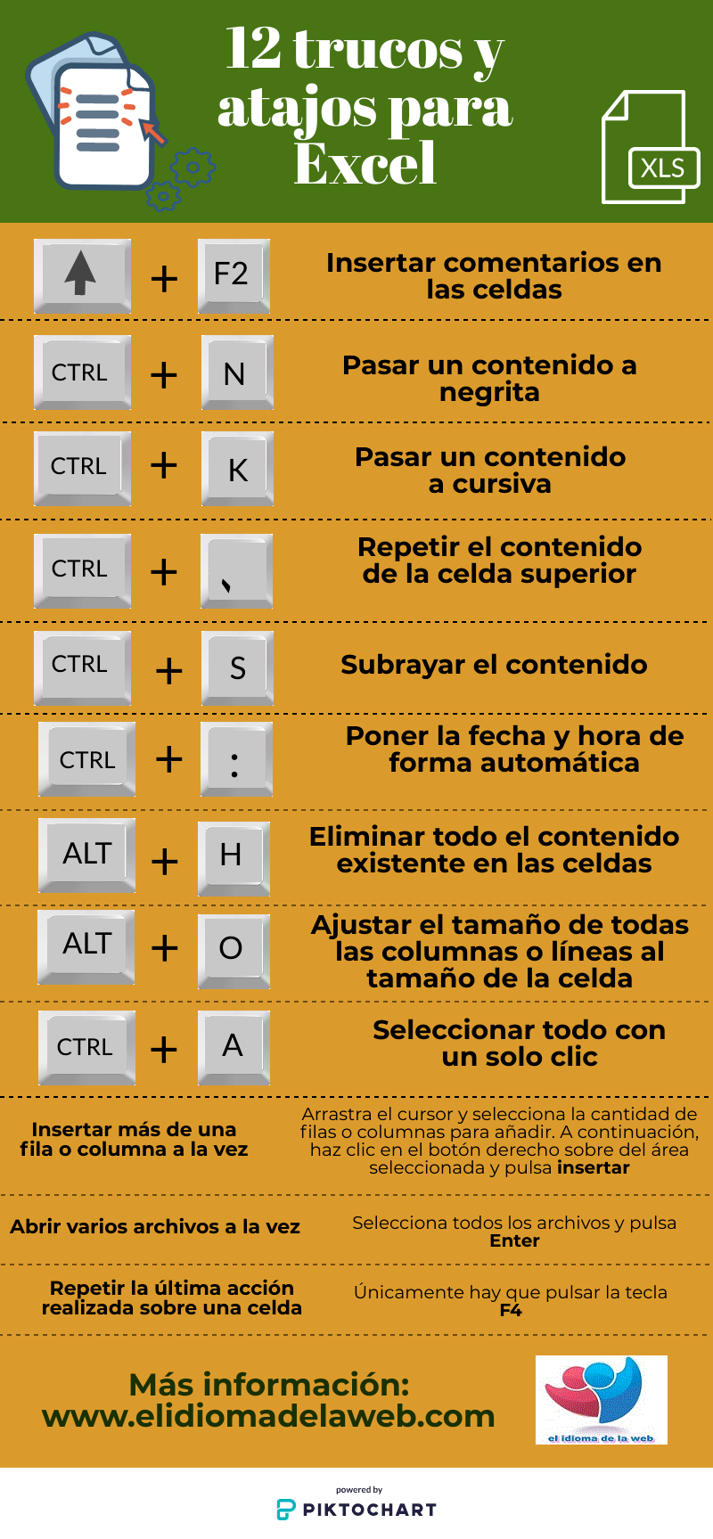 trucos y atajos para Excel