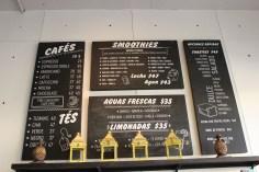 El menu de bebidas