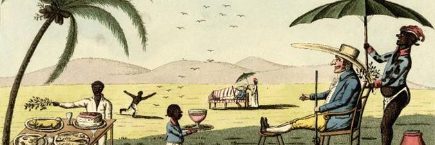 Ilustração criticando a dolência dos fazendeiros ingleses na Jamaica